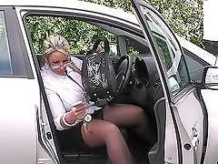 Chunky fresh-looking salesgirl in fancy outfit rides her clients shaft