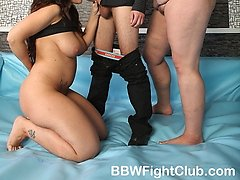 Really big girls fight undressed in the ring
